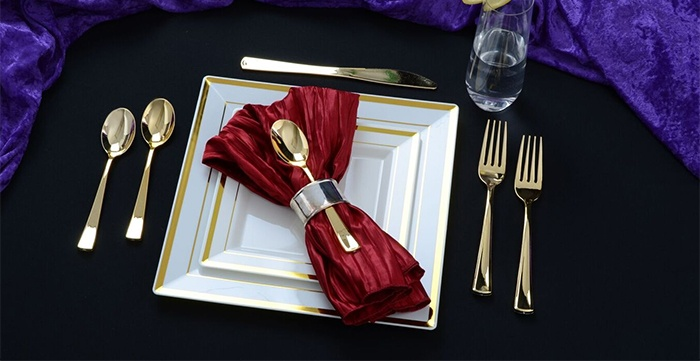 Heavyweight Gold Cutlery for Single Use by Fineline Settings